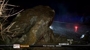 Yes. A boulder. The size of a truck. In the interstate.